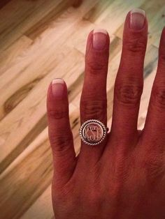 Monogram ring. LOVE THIS.  love it for a rhr, or a very casual wedding band/engagement ring sub for times when diamonds and gold are not ideal.