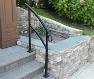 Quick, Easy to Install Hand Rail for stairs. Great for indoor or outdoor use. Porch Step Railing, Porch Handrails, Exterior Stair Railing, Outdoor Stair Railing, Iron Handrails, Wrought Iron Stair Railing, Porch Stairs, Stair Handrail, Iron Railings