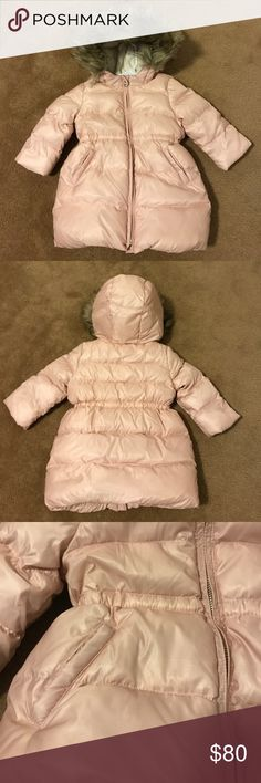 Baby Gap puffer coat for girl 18-24 months It's never too early to think ahead- especially with how babies grow!  This is a beautiful iced pink; fleece lined upper and in hood; hood has faux fur trim. Easy to clean. Worn maybe 4-5 times. It's in excellent condition. No stains or tears. GAP Jackets & Coats Puffers