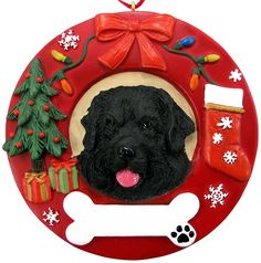 This is the perfect gift for all those Newfoundland dog lovers and owners out there. Don't miss out on the cutest Newfoundland dog ornament your tree has ever had! This unique ornament features a bone. Hand Painted Ornaments, Dog Ornaments, Christmas Wreaths, Christmas Decorations, Personalized Chocolate, Cat Memorial, Memorial Ideas, Personalized Christmas Ornaments, Newfoundland