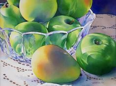 """""""Grannie Smiths and Bartlets"""" watercolor painting by Barbara Fox"""