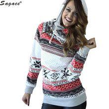 Sagace Christmas Style Snowflake Print Women Fleece Sweatshirts Casual Long Sleeve Hooded Zipper Cotton Hoodies Girls Tops Sep13(China (Mainland))