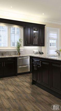 Moon White Granite, Dark Kitchen Cabinets.