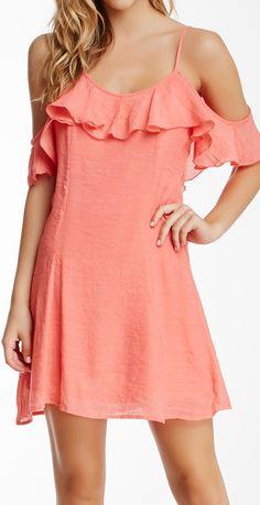 Coral off shoulder dress