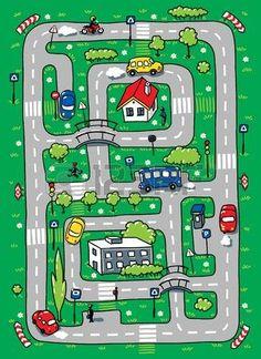 Kinder Vektor-Illustration Labyrinth von Stra�en, Rasenfl�chen, byilding und Autos photo