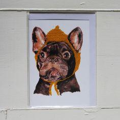 Fetch & Follow Greetings Card: French Bulldog