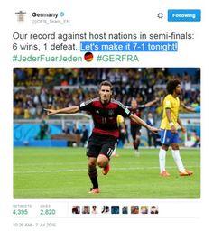 Alemanha tira sarro do Brasil pelo Twitter antes da semifinal da Euro (Foto: Reprodução/ Twitter)