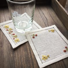 White Placemats, Linen Placemats, Embroidery Patterns, Hand Embroidery, Handkerchief Embroidery, Personalised Placemats, Quilted Table Toppers, Needlework, Wedding Gifts