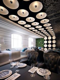 Lighting running from ceiling down wall. Interesting. Restaurant P :: Sergey Makhno