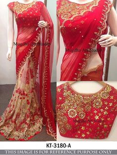Buy Apparels- Designer Inspired Red Colour Net Thread and Sequins Work Saree