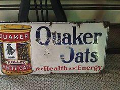 Quaker Oats Porcelan Sign Original