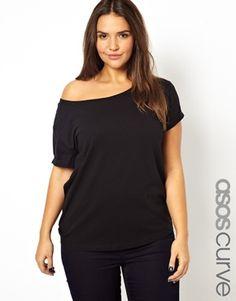 Immagine 1 di Esclusiva ASOS CURVE - T-shirt con spalle scoperte