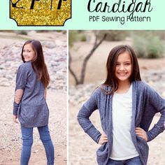 This beginner friendly knit cardiganis super quick and simple to sew up. The trendy look will please moms and even the pickiest pre-teens ;)  This is a dolman style cardigan with a fitted lower sleeve. There is enough ease to comfortably layer a long sleeve under.  Comes with short sleeve, 3/4 sleeve and long sleeve with multiple cuff options. Includes both cropped and tunic lengths. The cropped areperfect to pair over a dress and tunics look so cute with some skinnies or leggings! ...