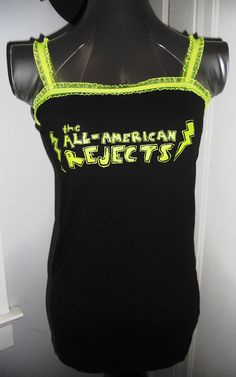 $20 Handmade upcycled diy reconstructed ladies band shirt punk rock alternative tank top all american rejects with bright neon yellow green lace trim - one of kind shirt you wont find anywhere else, only one so buy me while it lasts!