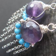 Sterling Silver turquoise amethyst earrings with petite sterling chain dangles