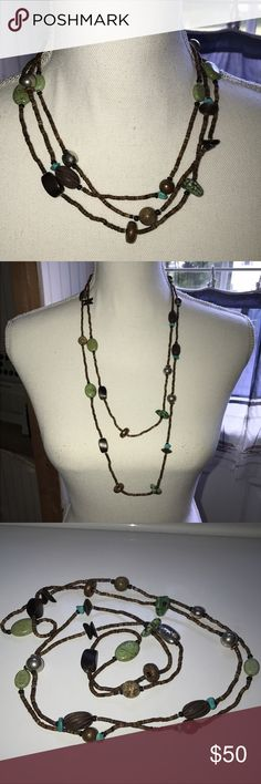 Silpada Mixed Materials Layering Necklace Wear long, doubled, or tripled.  Excellent condition.  Worn a handful of times.  Different stones and materials go with almost anything in your closet. Silpada Jewelry Necklaces