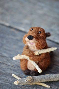 Bear Creek Beaver #2 needle felted by Teresa Perleberg