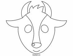 Goat mask templates including a coloring page version of