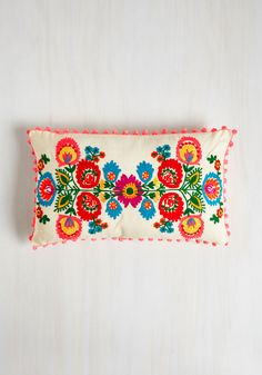 Whim-terior Decorating Pillow. Add alluring boho brightness to your space with this brilliantly embroidered pillow! #multi #modcloth