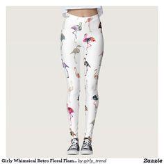 Girly Whimsical Retro Floral Flamingos Pattern Leggings
