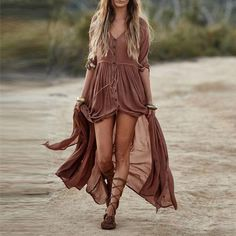 lace-up-flat-sandals-knee-high-plus-brown-maxi-dress-boho-style - Fashion Outfit Ideas Hipster Outfits, Chic Outfits, Fashion Outfits, Boho Style Dresses, Boho Dress, Casual Chic, Brown Maxi Dresses, Dresses Dresses, Mini Dresses