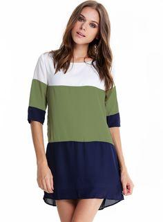 White Green Blue Color Block Dress 21.79
