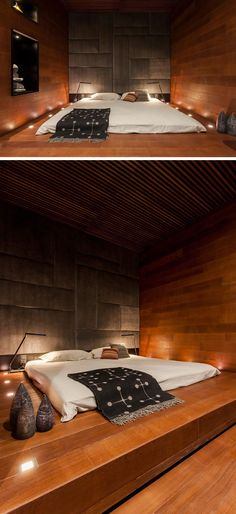BEDROOM DESIGN IDEA - Place Your Bed On A Raised Platform // Surrounded by tiny lights built right into the wooden platform, this raised…