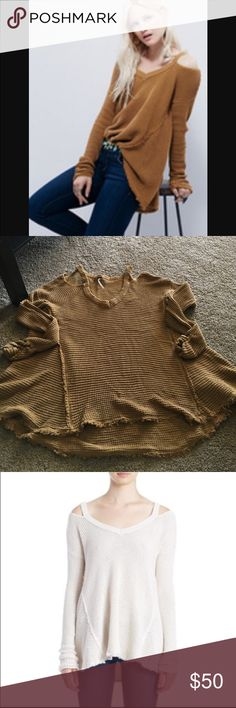 Free People Moonshine Sweater Free People Moonshine Pullover sweater in a mustardy/gold color. Slight rouching on end of the sleeves. I have posted other colors to show the fit on a body. Worn once. Free People Sweaters V-Necks