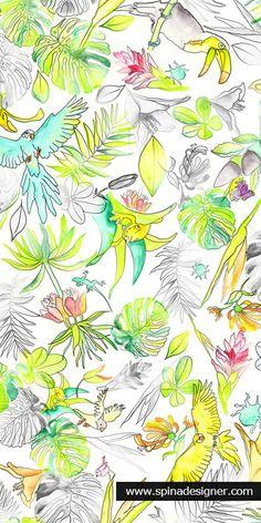 """Estampa Revoada, desenvolvida para o 2º Prêmio Estampa Brasil. Foi uma das 12 selecionadas na categoria profissional """"Natureza de verão"""". #print #textile #watercolor #floral #pattern #design"""