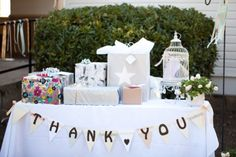 wedding gift tablecute and simple, hire table and table cloth, make banner and add a centerpiece that matcher the rest to the side :)