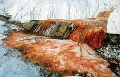 Blood Falls in Antarctica, part of the coldest flowing glacier (-17 deg. C) due to its high salt content