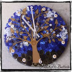 Natural Tree of Life Clock © Features our unique Tree of Life.  www.addictedtobuttons.com.au