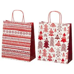 IKEA VINTER 2017 gift bag Can be used instead of gift wrap paper. White Art, Red And White, Ikea Kids, Holiday Gifts, Holiday Decor, Merry Little Christmas, Winter Holidays, Christmas Decorations, Reusable Tote Bags