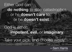 """""""Is God willing to prevent evil, but not able? Then he is not omnipotent. Is he able, but not willing? Then he is malevolent. Is he both able and willing? Then whence cometh evil? Is he neither able nor willing? Then why call him God?"""" --Epicurus. One of the best quotes ever in my opinion."""