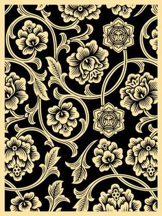 ☯☮ॐ American Hippie Psychedelic Art ~ Black Print - OBEY Shepard Fairey street artist . revolution OBEY style, street graffiti, illustration and design posters. Obey Wallpaper, Textures Patterns, Print Patterns, Pattern Print, Shepard Fairey Obey, Obey Art, Giant Flowers, Poster S, Flowering Vines