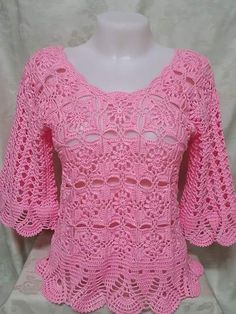 Girls like this model is charming, I loved this crocheted blouse see the step by step