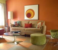 Living Room, The Small And Orange Living Room With The Great Neat Awesome Interesting And Nice Decorating Ideas That Look So Comfortable Amazing And Exciting With Some Furniture With Sofa And Round Table And Big Lampshade Also Rug ~ The Beautiful And Amazing Decoration Ideas For Living Room With The Neat Layout