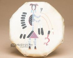 """Mission Del Rey Southwest - Small Navajo Native American Painted Drum 7.5"""" (pd92), $79.95 (http://www.missiondelrey.com/small-navajo-native-american-painted-drum-7-5-pd92/)"""