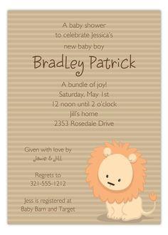 Paper So Pretty Digital Designs Baby Lion Invitation : Baby Shower Invitations