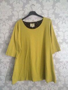 Gudrun-Sjoden-Lagenlook-Lime-Green-Organic-Cotton-Tunic-Top-XL