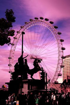London Eye with Shell centre in the background and Boadicea's statu in the foreground - as seen form North side of Parliament bridge