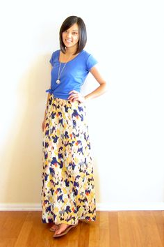knotted shirt over maxi dress. instead of always wearing a jacket/cardigan over spaghetti straps!