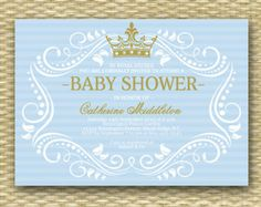 royal baby shower invitations prince blue and gold vintage printable theme party baby boy shower prince invitations royal prince nv985