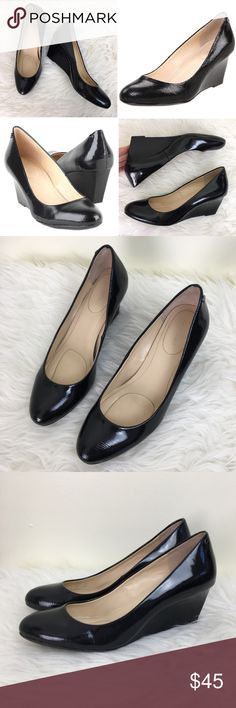 """Calvin Klein Saxton Patent Leather Wedge Pump 8.5M These black patent leather Saxton wedge pumps from Calvin Klein will take you from the office to the bar! Size: 8.5M. EXCELLENT CONDITION! No scuffs. Heel: 2.5"""". Calvin Klein Shoes Wedges"""