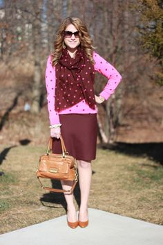 Pink Polka Dots Sweater, Brown Polka Dots Scarf, Burgundy Skirt, Brown Bag