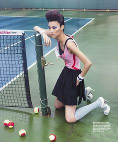 """""""Smashing Duo"""": Park Ji Hye & Ji-Young Lee Play Tennis by Lim Han Soo for Singles Korea"""