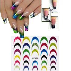 Multicolor Brilho Shiny French Tip Uña Etiqueta de arte Manicura Decoración de calcomanías