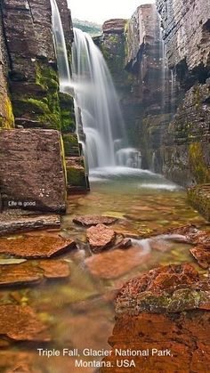 Triple Falls in Glacier National Park. Photo by Tony Bynum Triple Falls in Glacier National Park. Photo by Tony Bynum Beautiful Waterfalls, Beautiful Landscapes, Famous Waterfalls, Parc National, National Parks, Cool Places To Visit, Places To Travel, Us Travel Destinations, State Parks