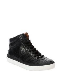 Jimmy Chooblack leather 'Belgravi' croc-embossed high top sneakers