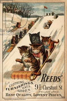Advertisement trade card for 'Reed's, for clothing furnishing, hats and shoes', printed by Bufford Sons Litho. Co., 1887  - Kittens sledding